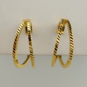 Vintage Napier Gold-Tone Split Hoop Earrings